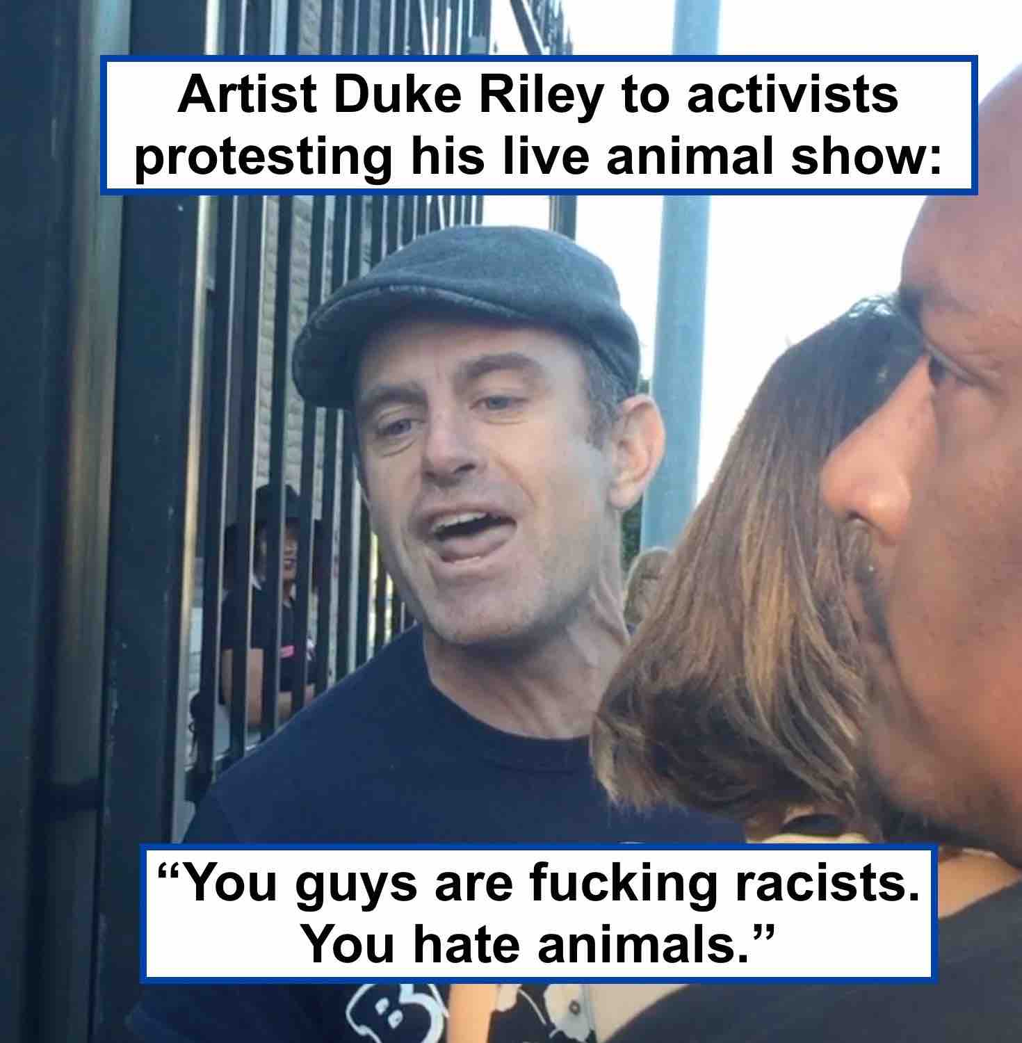 Artist Duke Riley Verbally Assaulted activists protesting his pigeon show.