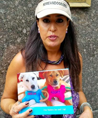 Silva Baker adopted two dogs rescued from a South Korean dog farm.