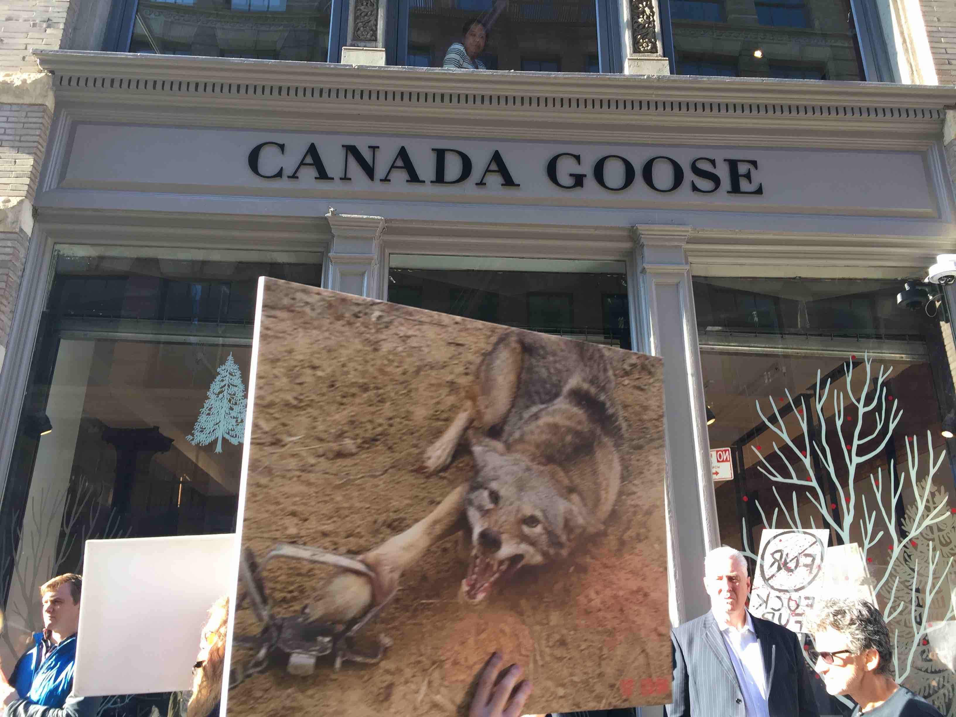 Protest on the opening day of the Canada Goose store in NYC
