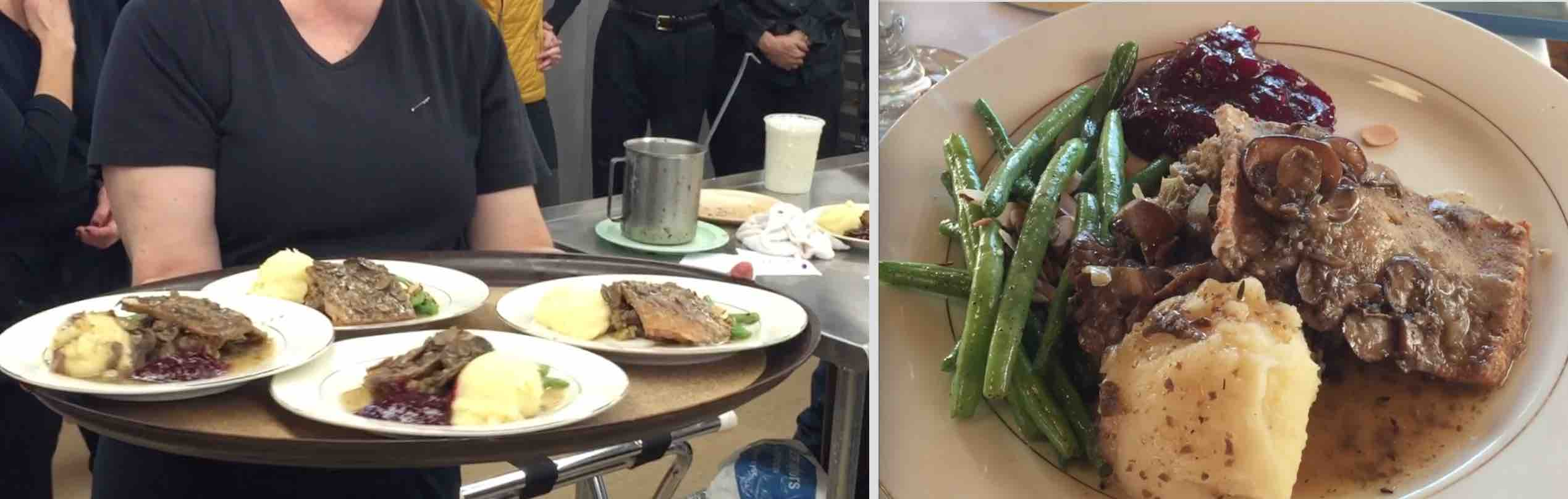 Main course: Butter roasted Blackbird seitan, Grandma Terri's classic stuffing, rosemary garlic whipped potatoes, Port shiitake mushroom gravy, lemon-sauteed green beans with almond slivers, citrus cranberry sauce